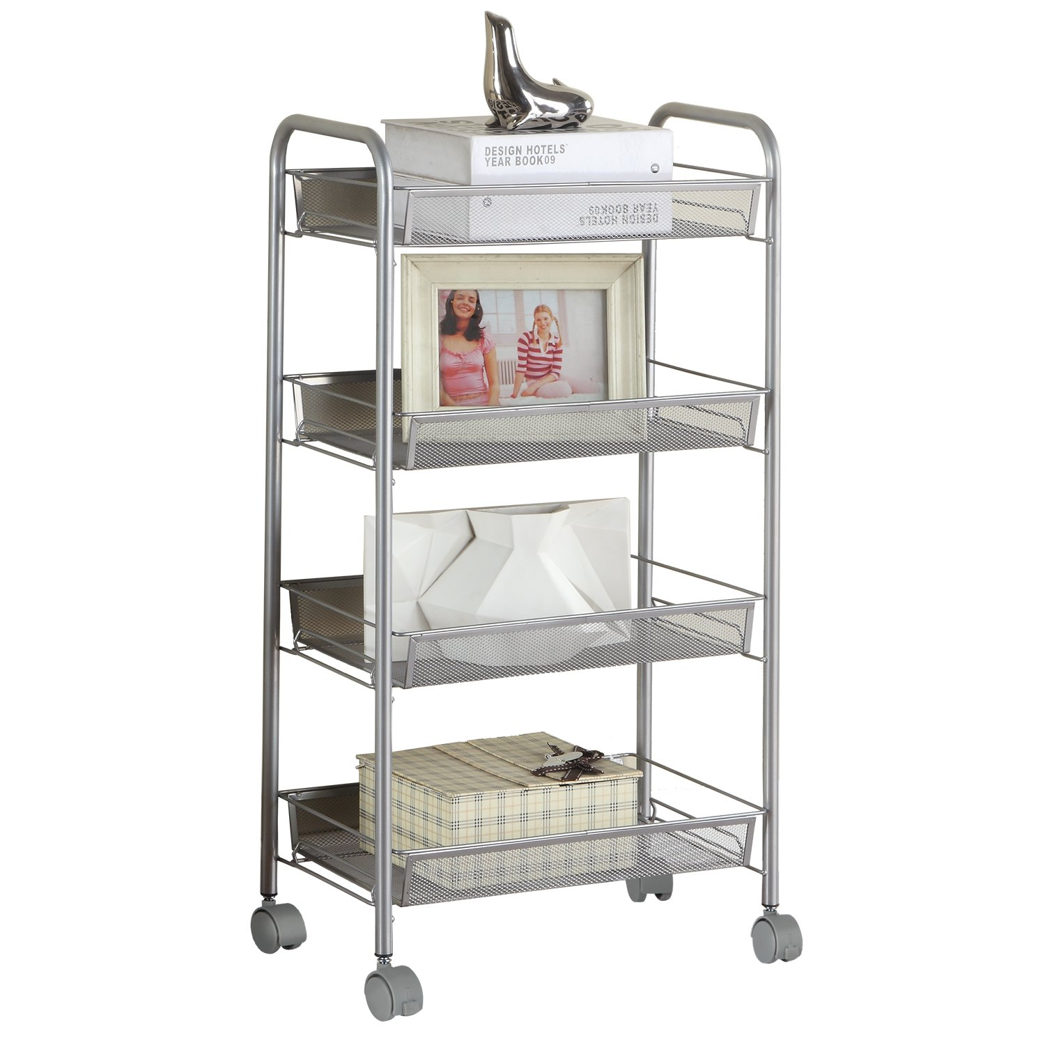 SINGAYE Silver Kitchen Storage Cart on Wheels 4 Tier Multifunction Utility Cart Steel Wire Basket Shelving Trolley