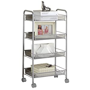 SINGAYE Silver Kitchen Storage Cart on Wheels 4 Tier Multifunction Utility Cart Steel Wire Basket Shelving Trolley