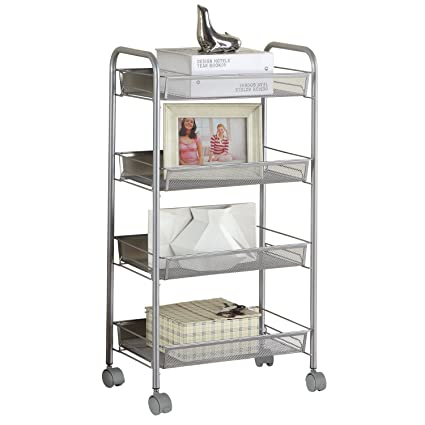Amazon Com Singaye Silver Kitchen Storage Cart On Wheels 4 Tier