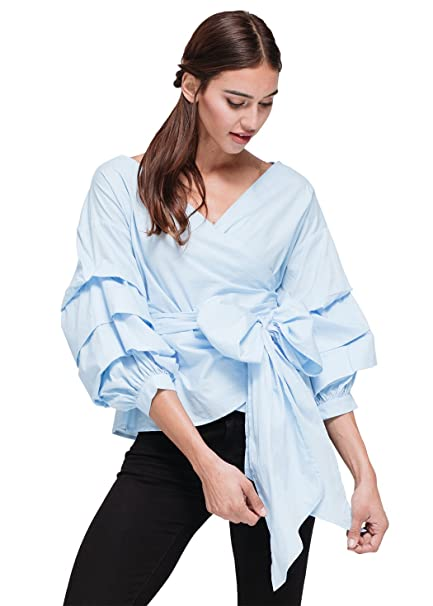 7e743a8b904973 Pleione Ruched 3 4 Sleeve Wrap Tie Front Shirt Blouse at Amazon Women s  Clothing store