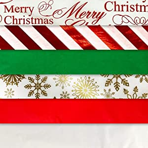 Christmas Designs Tissue Paper on Kraft Paper (Christmas Tissue Paper with Foil Accents, 102 Sheet Pack)