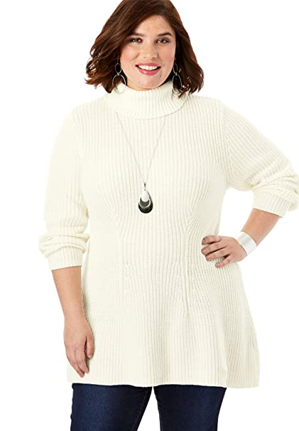 Roamans Womens Plus Size Ribbed Turtleneck Sweater