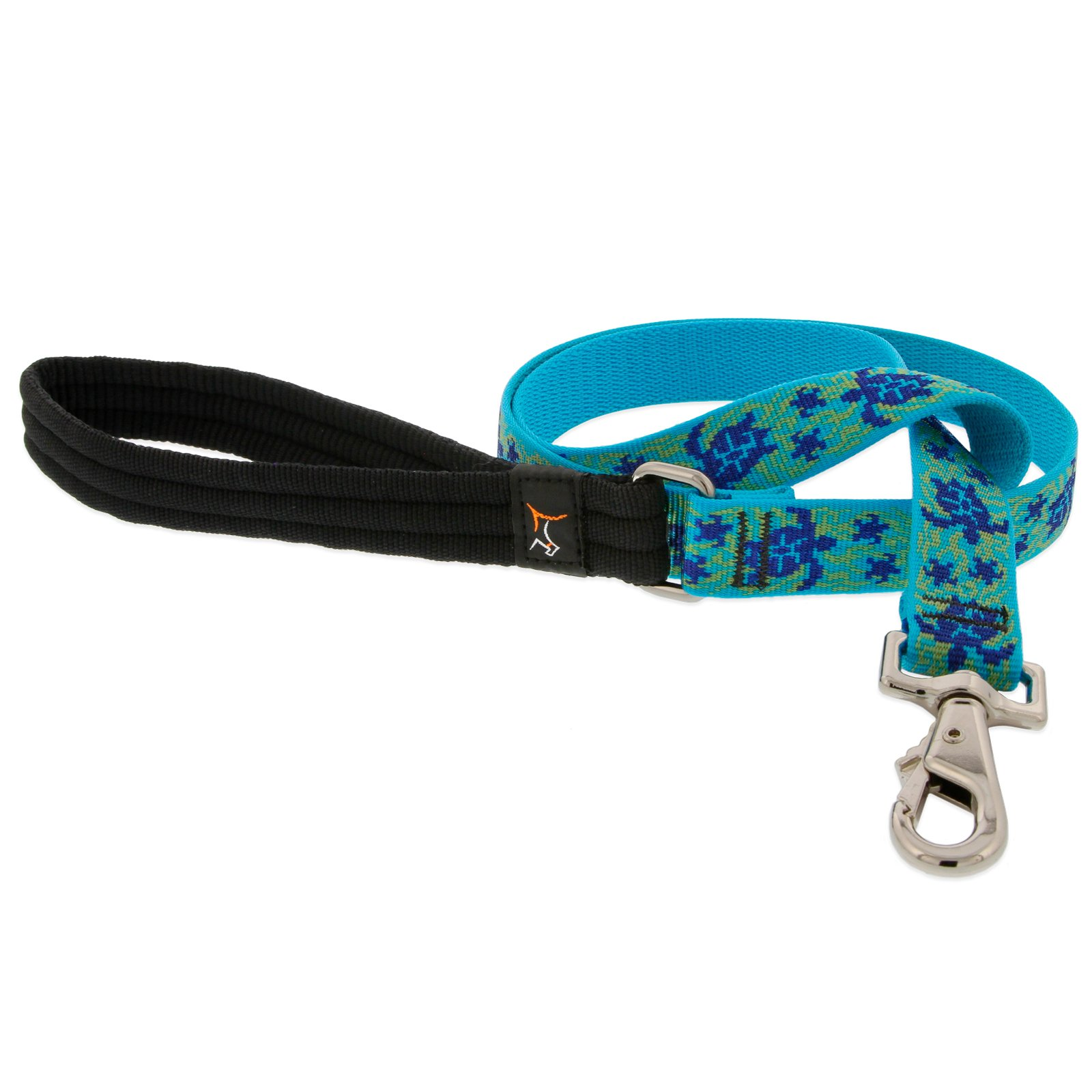 LupinePet Originals 1'' Turtle Reef 6-foot Padded Handle Leash for Medium and Larger Dogs