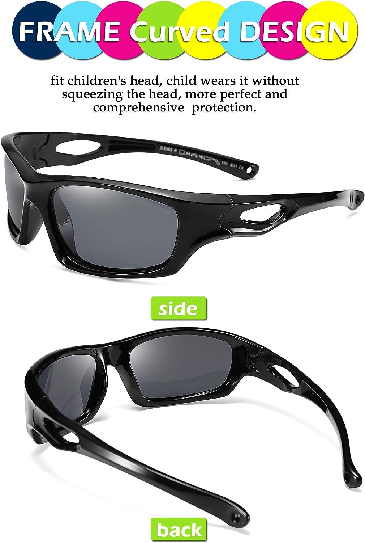 FEISEDY Kids Polarized Sport Sunglasses Rubber Frame Boys Girls 3 to 12 Age Children Gift B2453