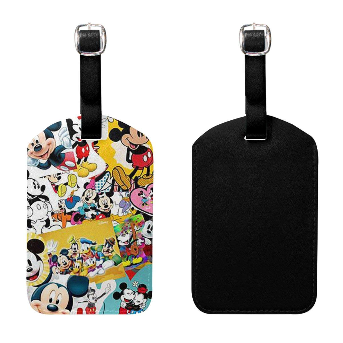 PU Leather Luggage Tags Mickey Mouse Family Suitcase Labels Bag Adjustable Leather Strap Travel Accessories Set of 2