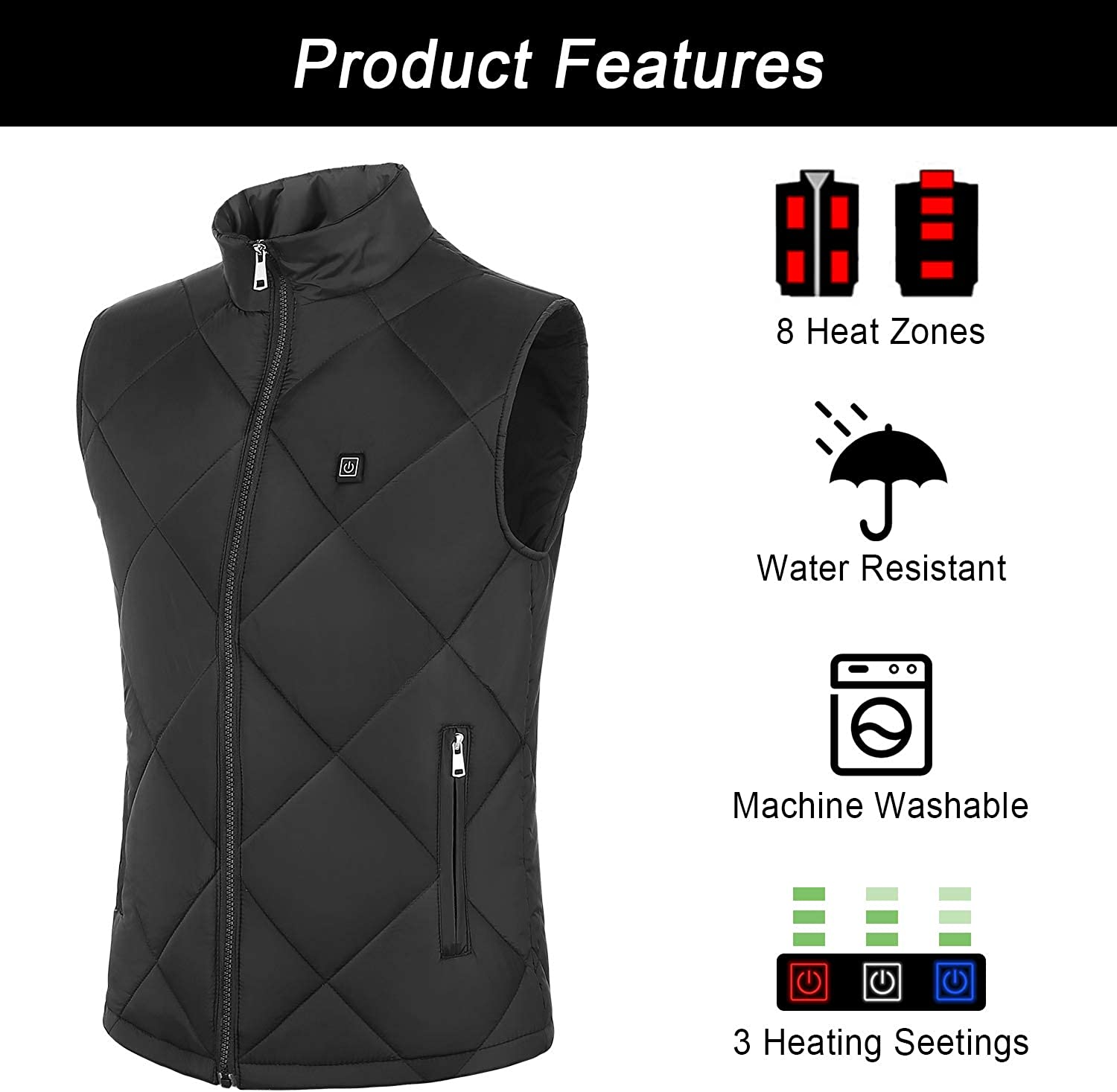 FERNIDA Heated Vest for Men Women USB Charging Electric Heating Vests Water Wind Resistant Battery Pack not Included