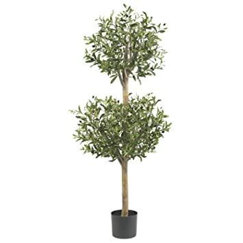 nearly natural olive double topiary silk tree 45feet green - Silk Trees
