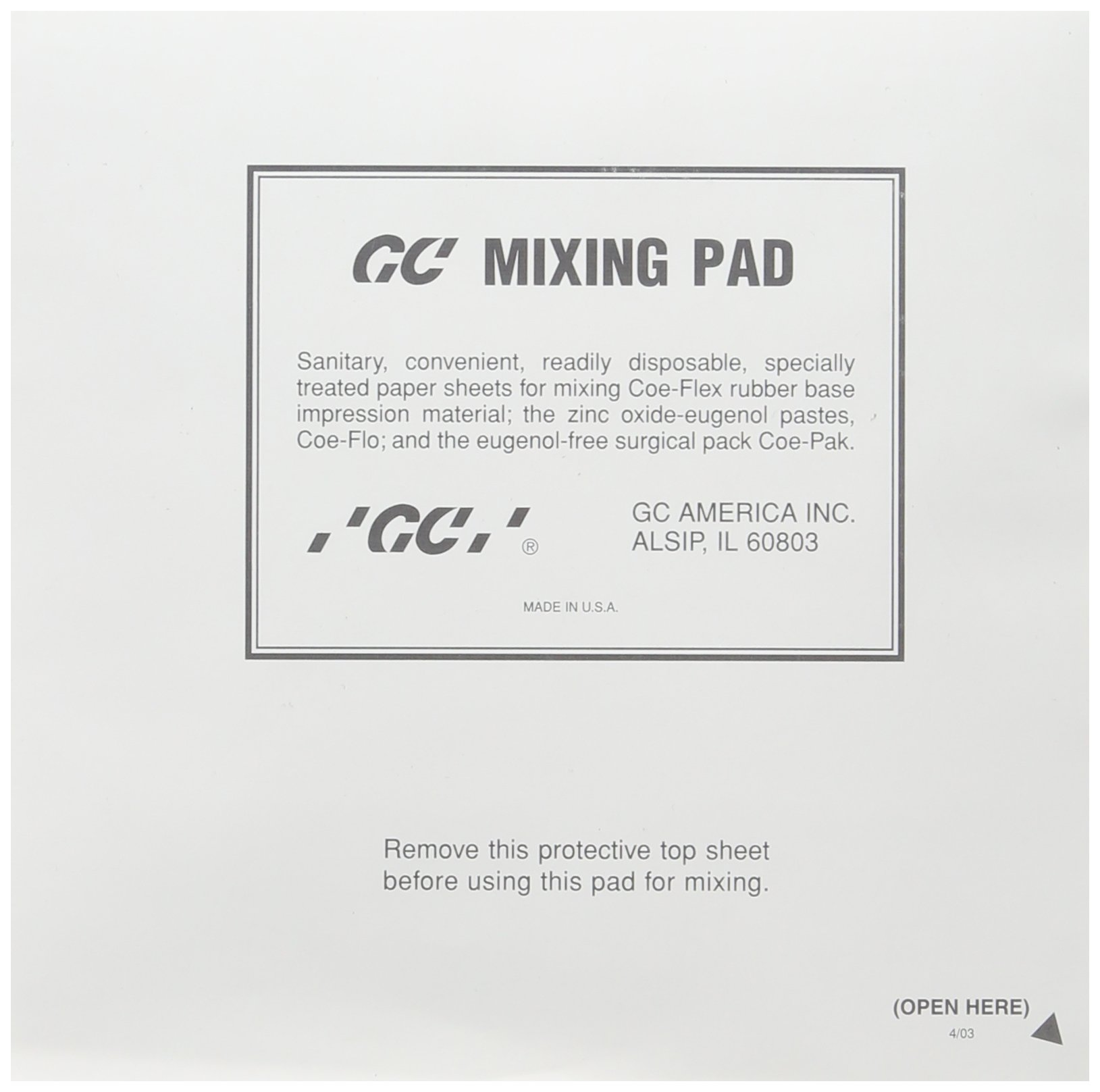 GC America 159112 Mixing Pads, 6'' x 6'' (Pack of 12)