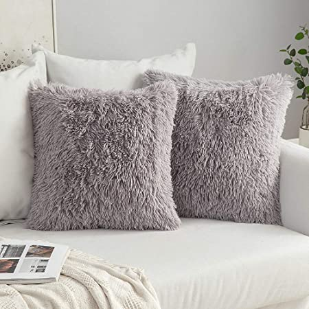 Fluffy Plush Fleece Square Pillow Case Sofa Bed Throw Cushions Cover Home Decor