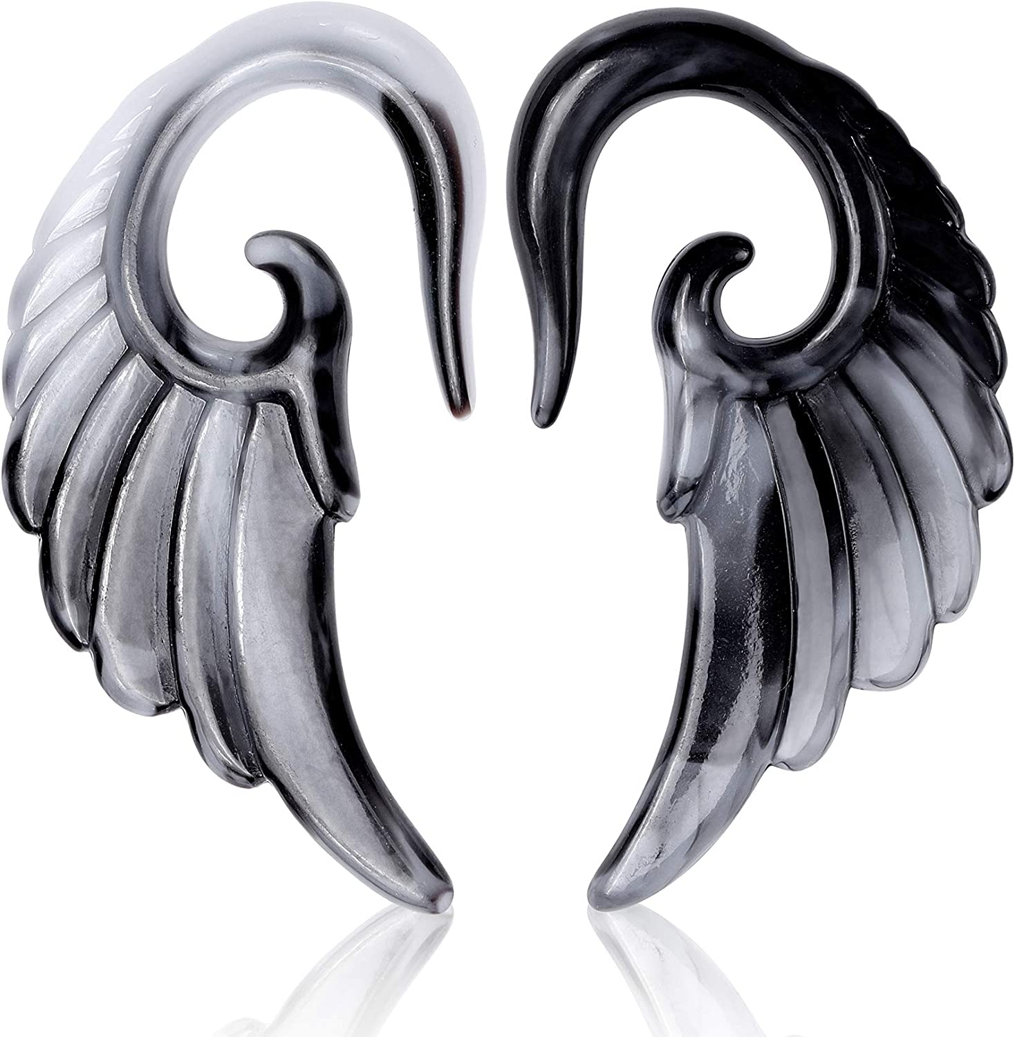UJstyle 6 Pcs Ear Stretching Kit Spiral Acrylic Tapers Angel Wings Plugs Gauges Expander Body Piecing Jewelry 6G-1//2(4mm)
