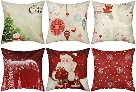 AB/_ Christmas Santa Sofa Car Throw Cushion Pillow Cover Case Home Decor Gift San