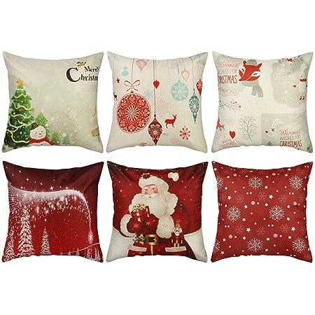 Yidaxing 4 Pack Funda De Almohada De Navidad Feliz Navidad Encantador Pap/á Noel Alce Algod/ón Lino Throw Pillow Case Funda De Almohada para Coj/ín 45x45 Cm