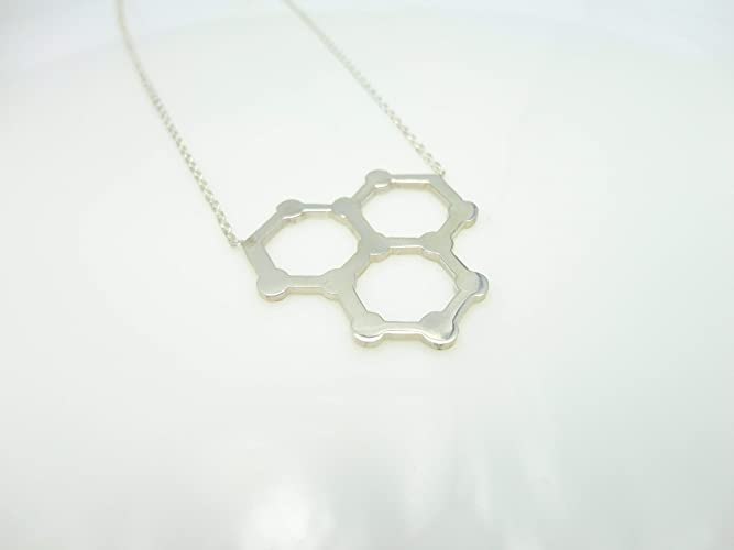 Amazon.com: Water Molecule H2O Charm Sterling Silver Necklace ...