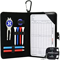 Golf Scorecard Holder n Yardage Book Cover in Genuine Leather - Divot Repair Tool, Ball Marker, Golf Tees, Scorer, Pencil n Scorecards Included - Gift for Golfers by Handy Picks