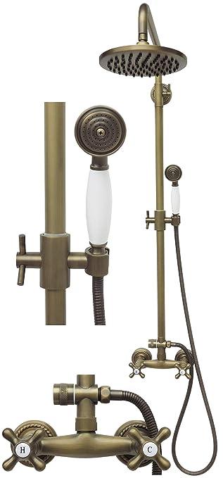 Duschset Regendusche Brausegarnitur Duschgarnitur Duschstange Duschkopf Stange Brauseschlauch H/öhenverstellbar Antik