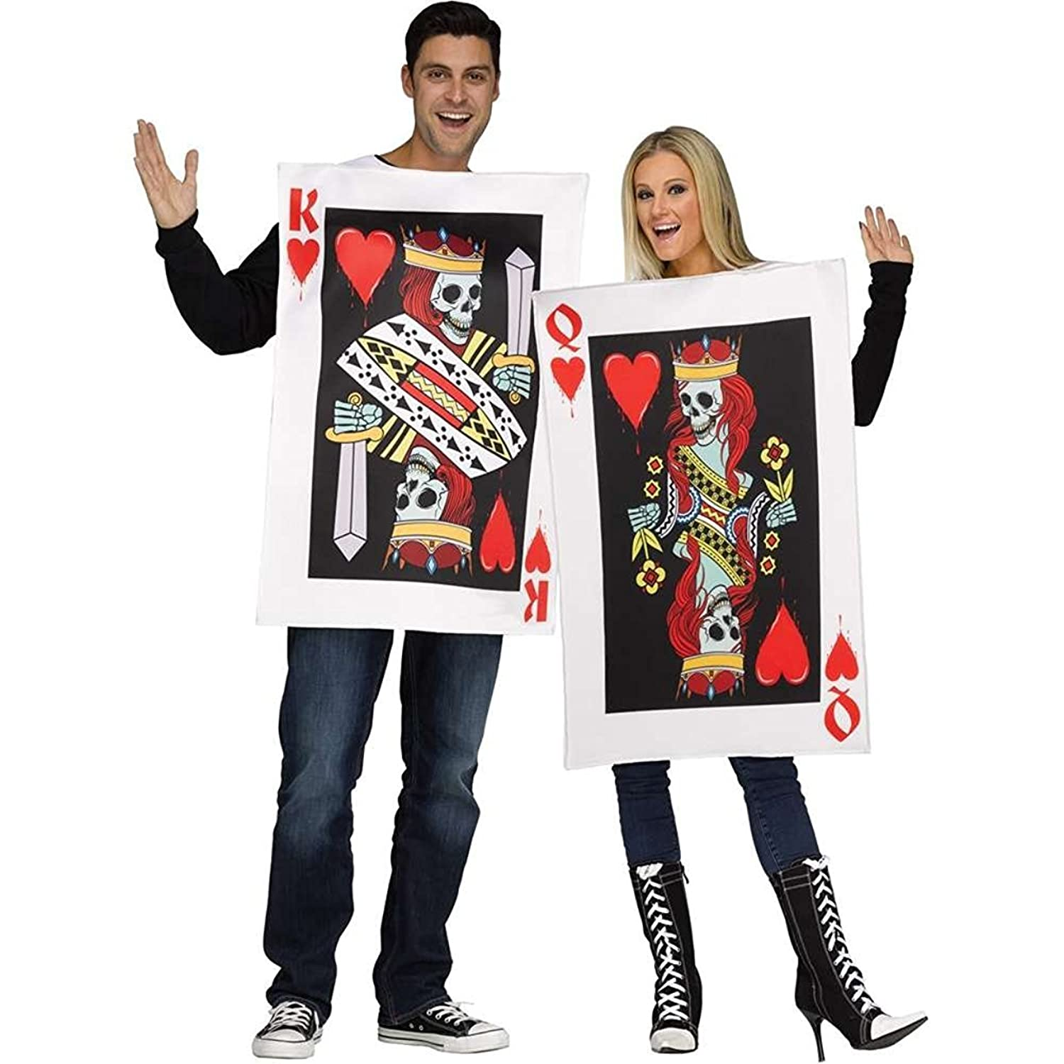 Adult King and Queen of Hearts Playing Cards Couple Costumes - DeluxeAdultCostumes.com