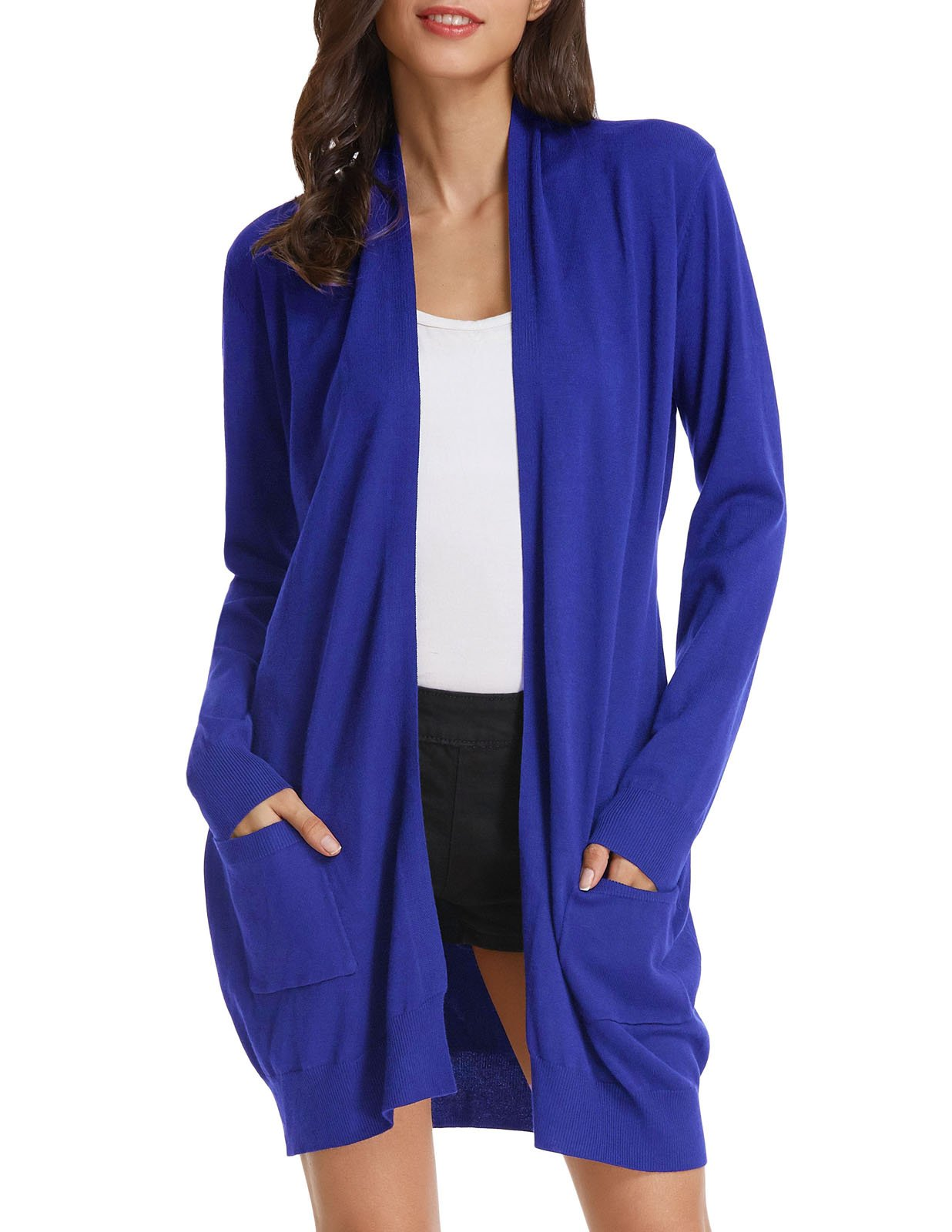 GRACE KARIN Womens Knitted Slim Fit Open Front Cardigan Sweater (XL,Royal Blue)