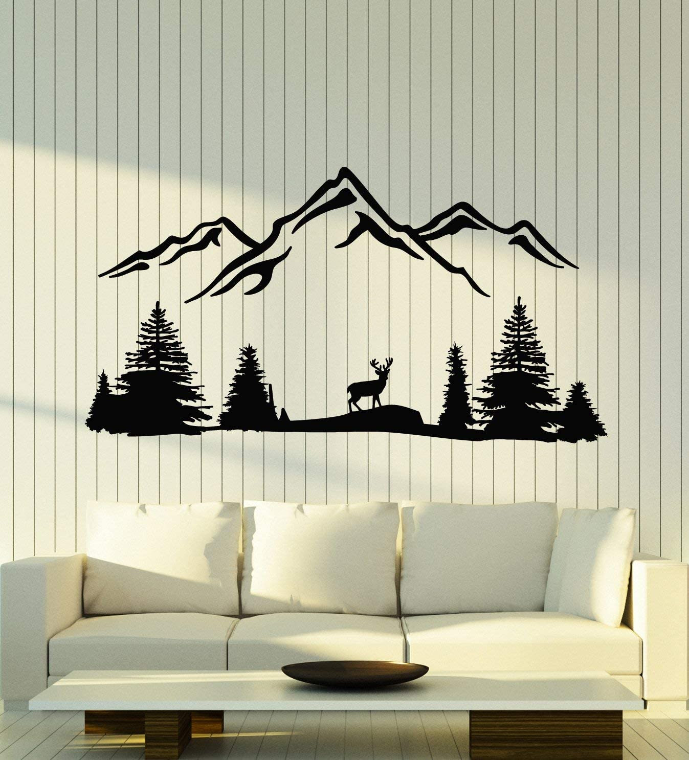 Vinyl Wall Decal Deer Mountains Wildlife Trees Beauty Nature Stickers Mural Large Decor (g1979) Black