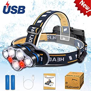 Aukelly Rechargeable Headlamp Flashlight LED Headlights USB Headlamps High Lumens Head Torch with Red Lights, Waterproof,8 Modes Headlamp for Camping Cycling Fishing,Battery Included