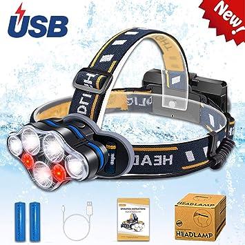 para pesca 90 grados ajustable Linterna frontal LED superbrillante de 15000 l/úmenes ciclismo correr camping senderismo con 6 modos recargable por USB resistente al agua