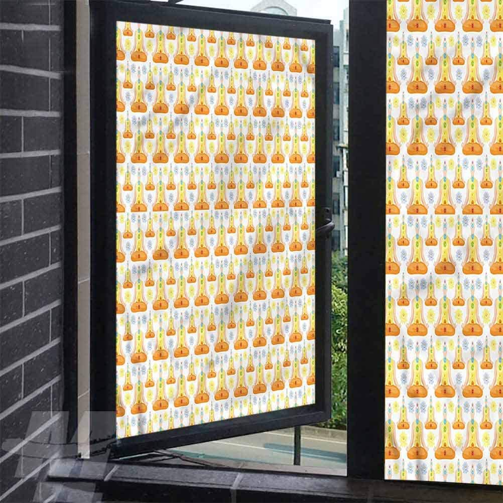 alisoso Window Privacy Film Lotus Position Sitting Man Window Film Door Sticker Glass Film 35.4 x 118 inches