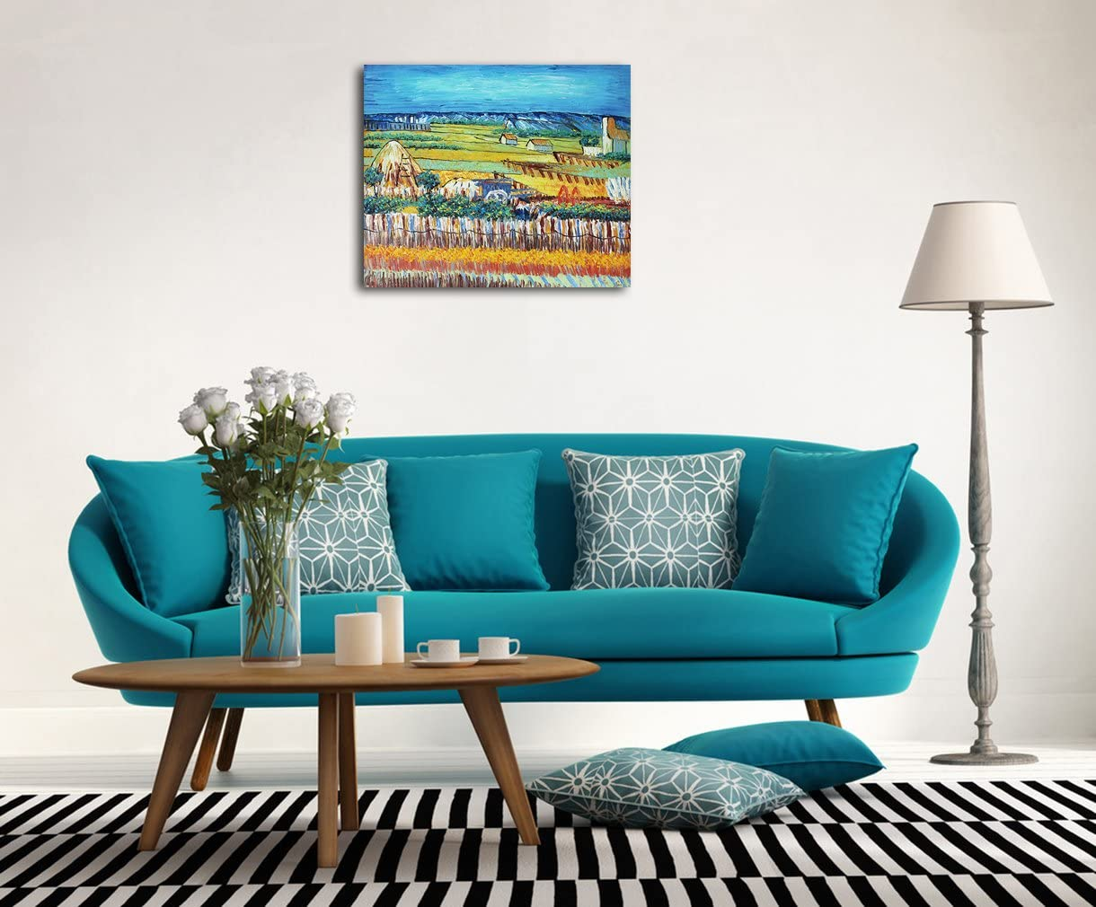 Muzagroo Art Van Gogh Painting Harvest in The Pastoral Hand Painted on Canvas Decor for Living Room Ready to Hang 20x24in