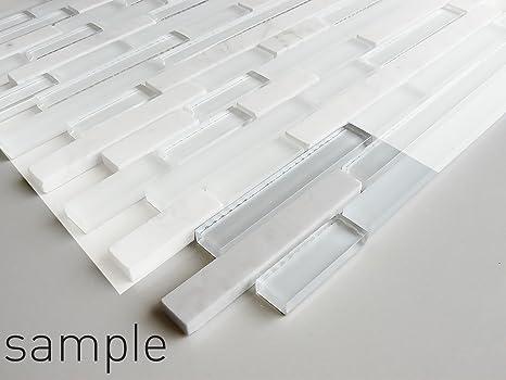 Bagno In Pietra Bianca : Pietra bianca e strisce in vetro mosaico foglio per muri pavimenti