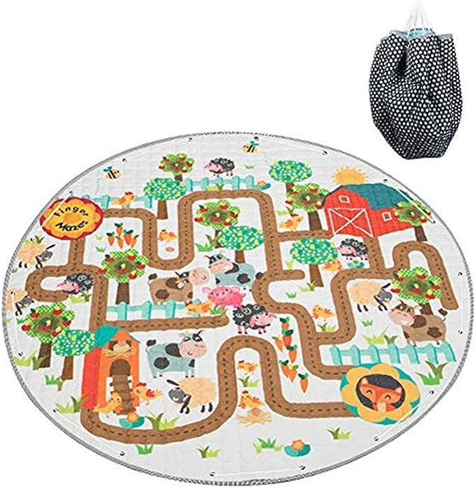 Blau - Mint Spieldecke Spielmatte Spielzeug Aufbewahrung Krabbeldecke Aufr/äumsack Spielzeugsack Beutel Tasche 2 in 1