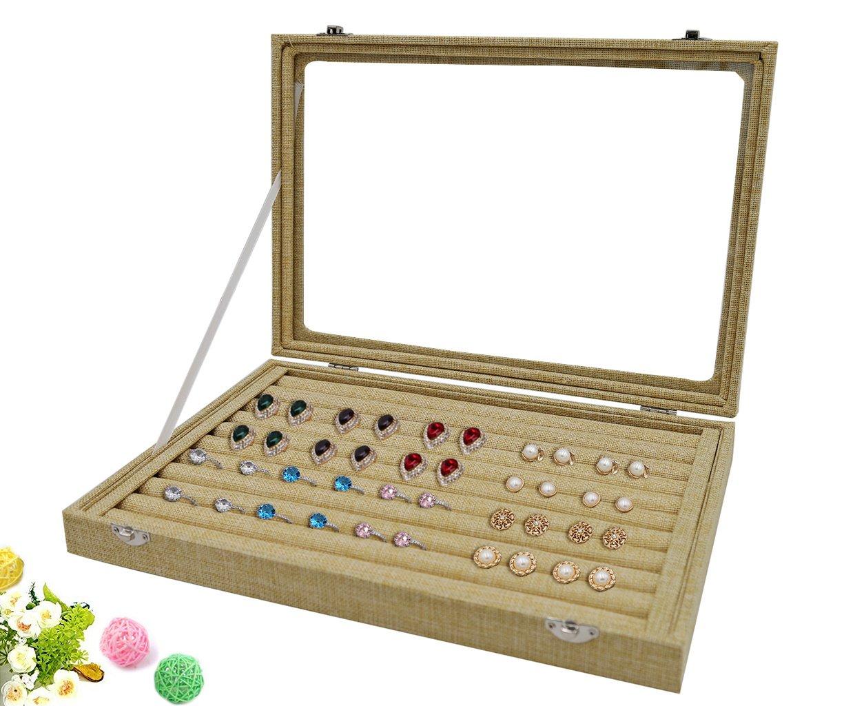 Wuligirl Clear Lid 7 Slots Jewelry Rings Earrings Tray Showcase Display Storage Box Case Organizer Burlap Linen