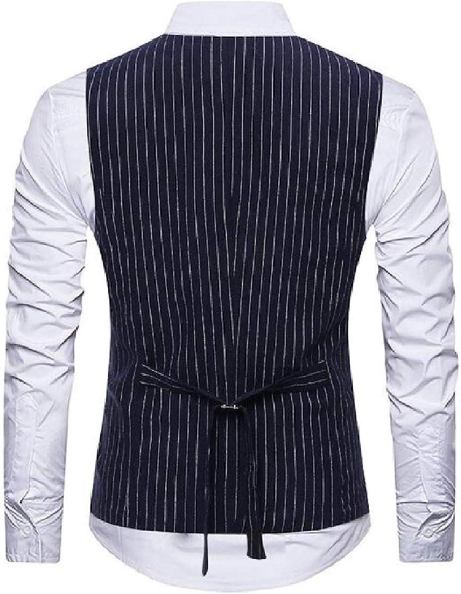 Winwinus Men Plus Size Bodycon Business Cami Striped Cardigan Vest Top