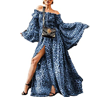 4c77902874e Leopard Printed Plus Size Bohe Dress Off Shoulder Maxi Dress Chiffon Split  Long Sleeves Dress
