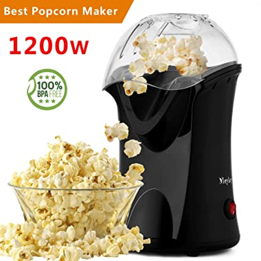 Popcorn Maker, Popcorn Machine, 1200W Hot Air Popcorn Popper Healthy Machine No Oil Needed (Black)