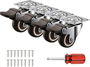 """4 Pack 1"""" Caster Wheels Swivel Plate w/Break Casters On Black Polyurethane Wheels Heavy Duty - 100 lbs Total Capacity Caster (4 with Brake), 20 Screws & A Handy Screwdriver for Free"""