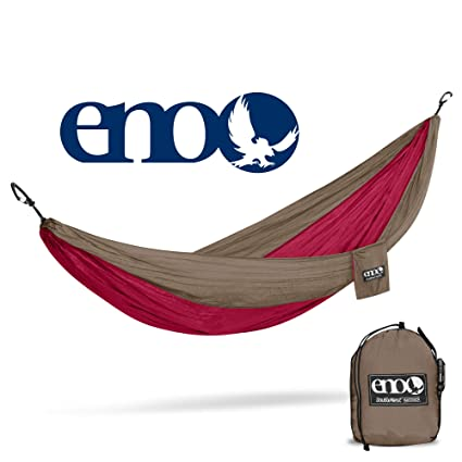 Eagles Nest Outfitters ENO DoubleNest Hammock with Insect Shield Treatment, Khaki/Maroon