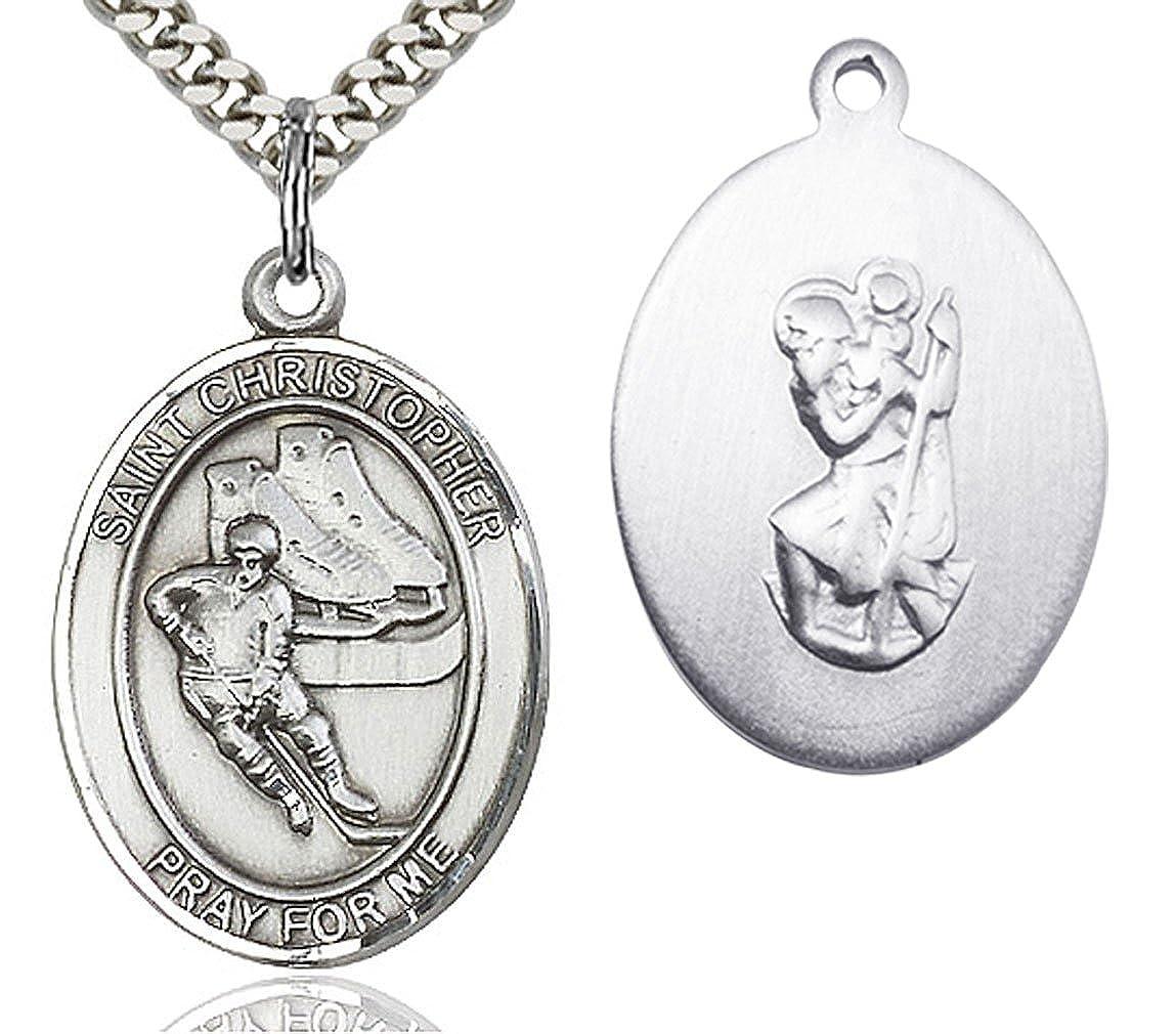 Heartland Mens Sterling Silver Saint Christopher Hockey Oval Medal USA Made Chain Choice
