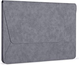 MOSISO Laptop Sleeve Compatible with 13-13.3 Inch MacBook Air/MacBook Pro Retina/2019 2018 Surface Laptop 3/2/Surface Book 2, PU Leather Ultra Slim Flap Style Protective Case, Space Gray