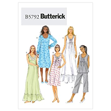 Butterick B5792 - Patrón de costura para confeccionar camisón y pijama de mujer (instrucciones en inglés y alemán): Amazon.es: Hogar