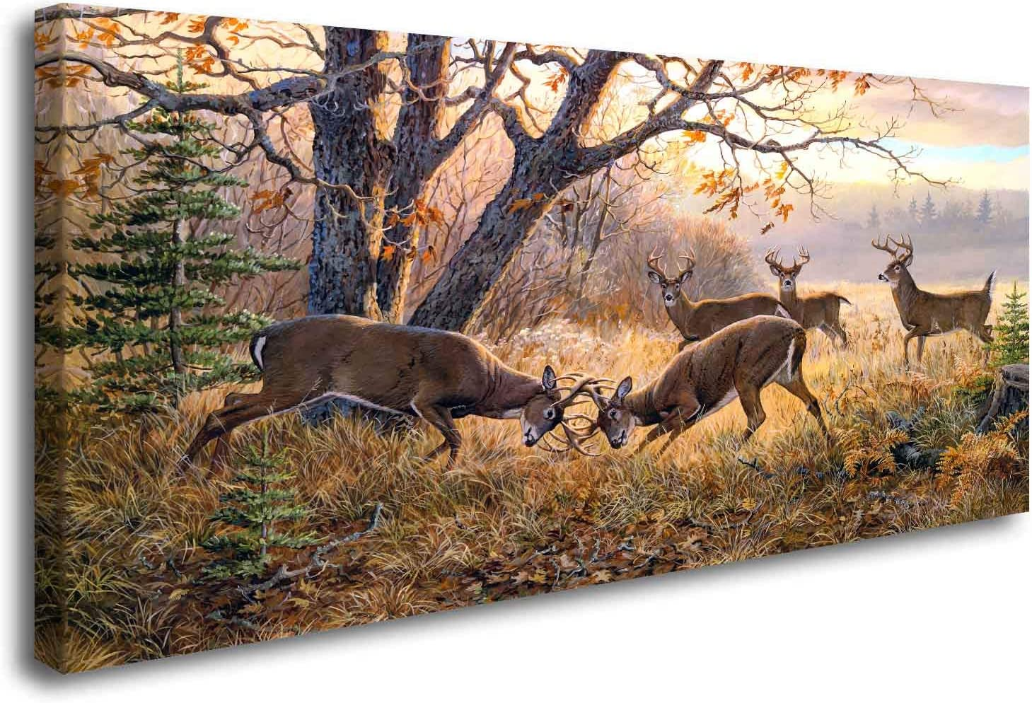 ArtHome520 Yellow Animal Deer Canvas Print Painting Wall Art Golden Autumn Landscape Picture Home Decor Living Dining Room Modern Framed Panel Piece (20''x40'')
