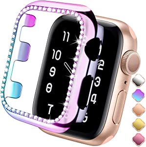 ZAROTO Compatible for Apple Watch Case 44mm Series 6 Series 5/4, Bling Protector Bumper for Apple Watch SE Diamond Protective Shiny Rhinestone Glitter Women Girl iWatch Face Cover Stylish 44mm Color