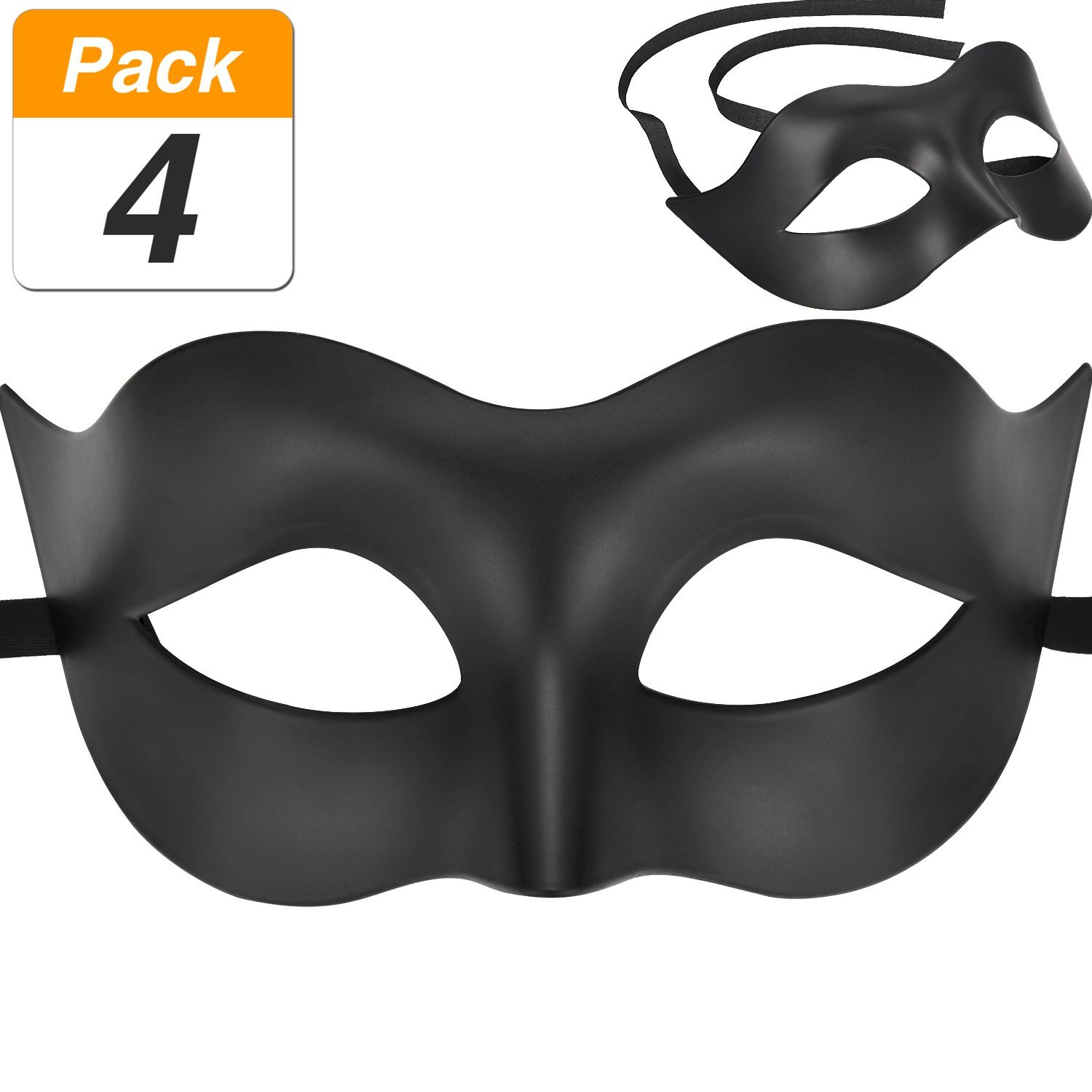 Jovitec 4 Pack Masquerade Mask Plastic Mask Venetian Eye Mask for Carnival Prom Ball Fancy Dress Party Supplies, Black