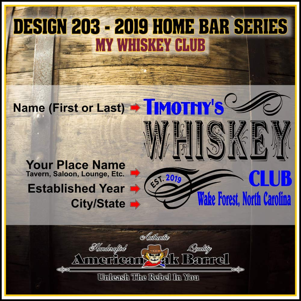 Personalized American Oak Whiskey Aging Barrel (203) - Custom Engraved Barrel From Skeeter's Reserve Outlaw Gear - MADE BY American Oak Barrel - (Natural Oak, Black Hoops, 2 Liter) by American Oak Barrel (Image #2)