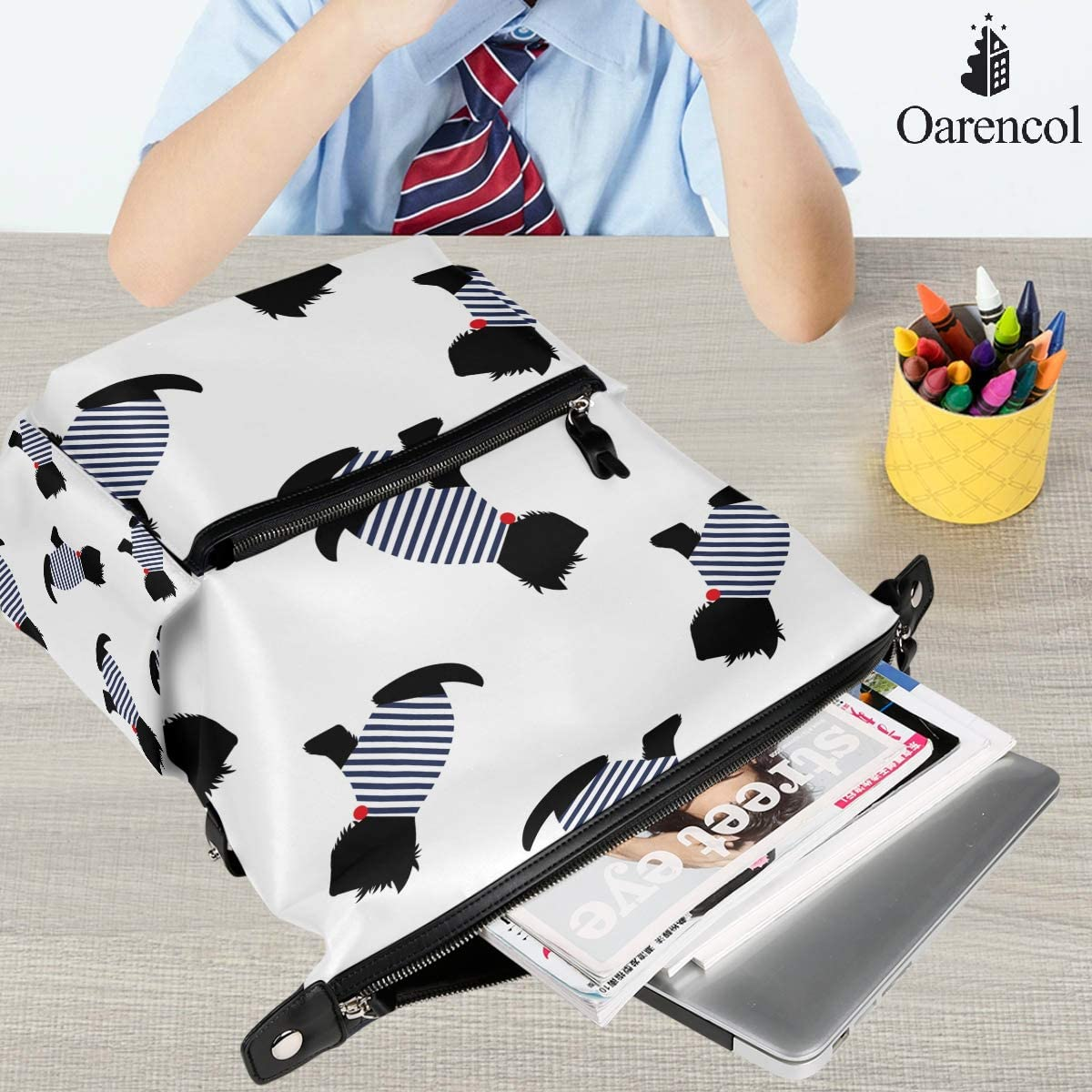 White Oarencol French Style Schnauzer Dog Animal Backpack School Book Bag Travel Hiking Camping Laptop Daypack