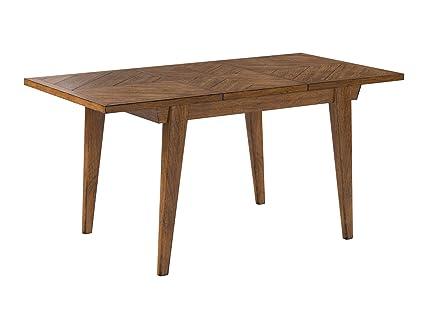 Cool Rivet Ian Modern Medium Dining Kitchen Table Expandable 60 80W Brown Spiritservingveterans Wood Chair Design Ideas Spiritservingveteransorg