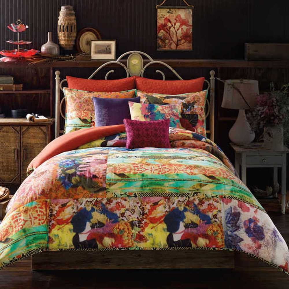 3 Piece Rainbow Floral Comforter Queen Set