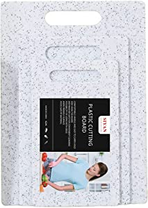 Plastic Marble Cutting Board Set of 3, Food Safe PP Material, BPA Free, Non-Porous, Dishwasher Safe, Easy Grip Handle,Kitchen (Set of Three, White)