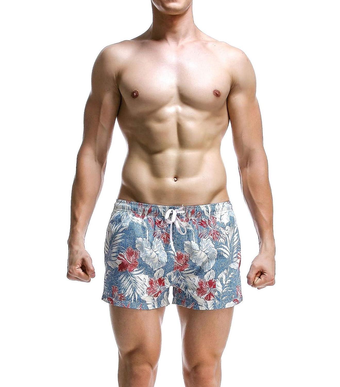 Abetteric Mens Comfy Popular Hawaiian Style Pajama Pants Shorts Beach Trousers