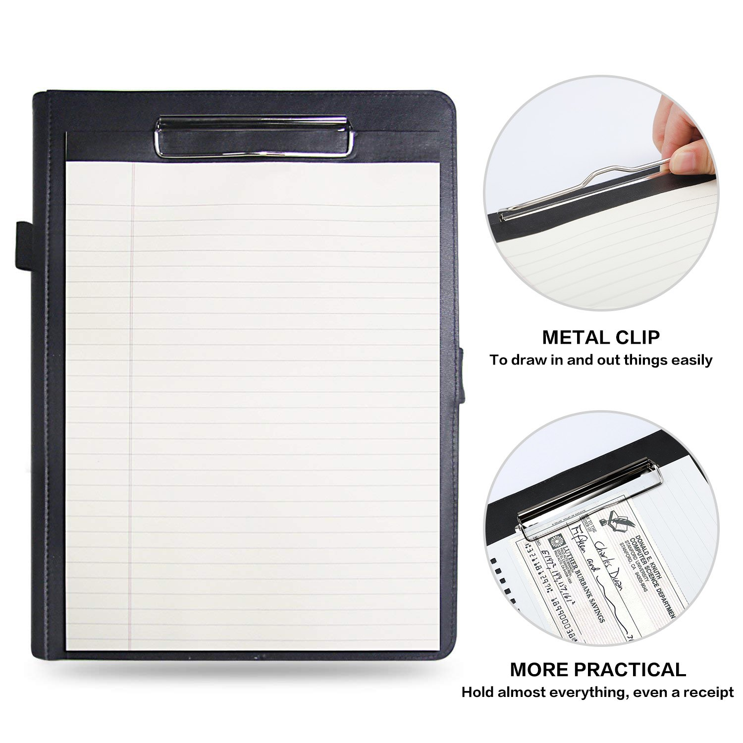 Padfolio Business/Resume Portfolio, AHGXG Leather Folder with Clipboard Document Organizer with Paper Clip, Legal Writing Pad, Pen Holder, Magnetic Closure and Pockets Contrast Stitch for Interview by AHGXG (Image #1)