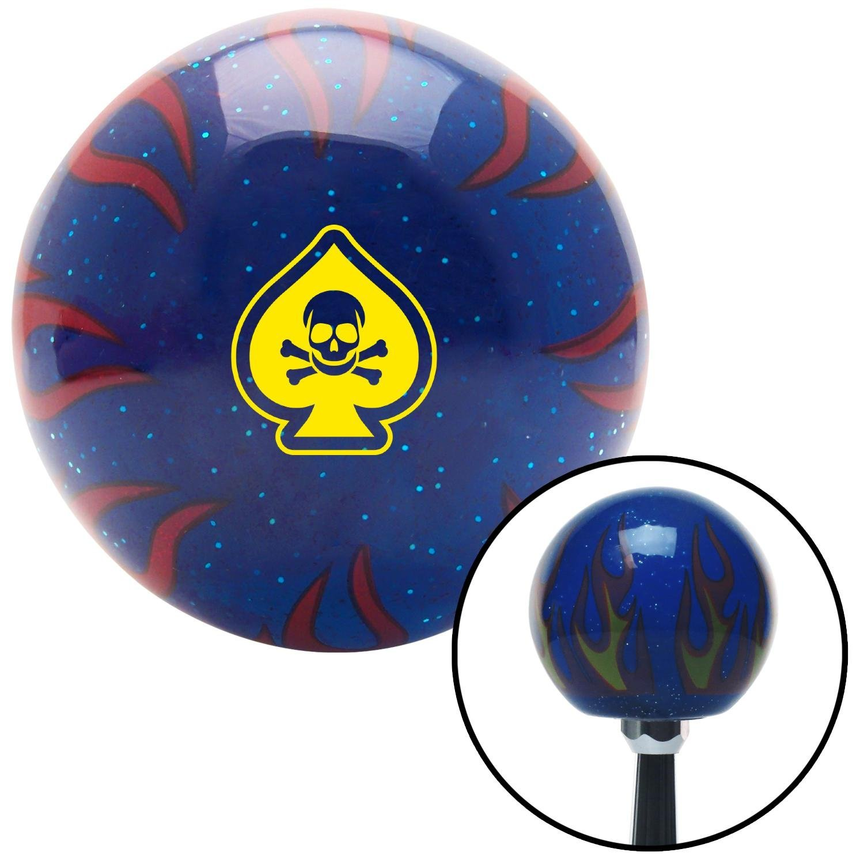 Yellow Spade Skull Blue Flame Metal Flake American Shifter 298435 Shift Knob