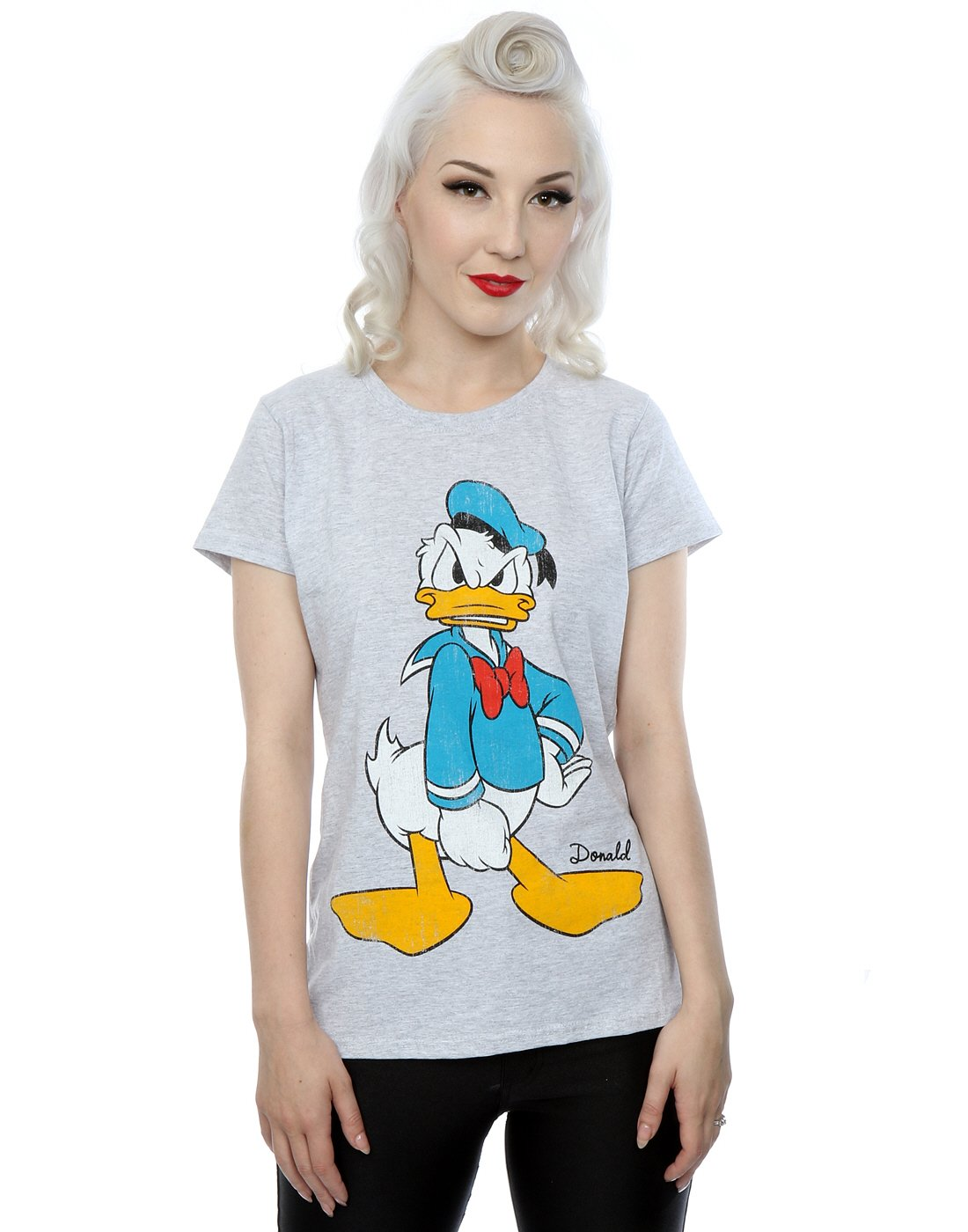 Disney Women's Donald Duck Angry T-Shirt X-Large Heather Grey