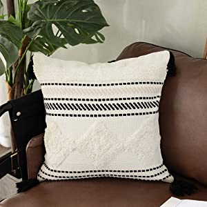 OJIA Throw Pillow Cover Black and White Neutral Farmhouse Decor, Boho Tribal Tufted Cushion Case Woven Tassel Pillows Cover for Couch Sofa Bed Living Room Bedroom Party Car (18x18 inch, White Diamond)